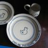 Duck Pattern    3 piece set in the design of your choice $80; bowl or plate alone  $38 cup alone $20