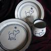 Elephant set $80 3 piece set  $38 for either bowl or plate alone  $20 for cup