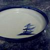 "Georgian Bay Windswept pine tree in blue serving plate 13"" diameter   Dinnerware  4 piece place setting includes dinner plate and a mug the other 2 pieces may be 2 bowls, 2 plates or combination $135 or choose a  set of bowls or dessert plates"