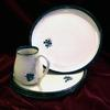 Dinnerware  4 piece place setting includes dinner plate and a mug the other 2 pieces may be 2 bowls, 2 plates or combination $135 or choose a  set of bowls or dessert plates