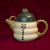 Snow man Teapot Green, purple or blue cap $175
